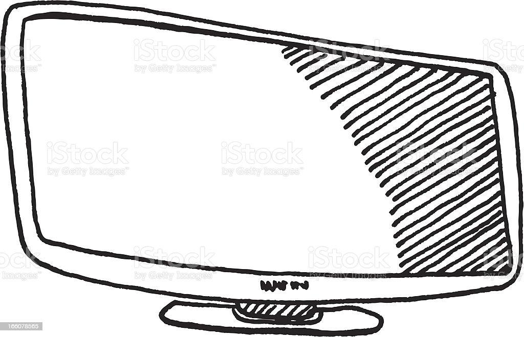 Television Flatscreen Sketch vector art illustration