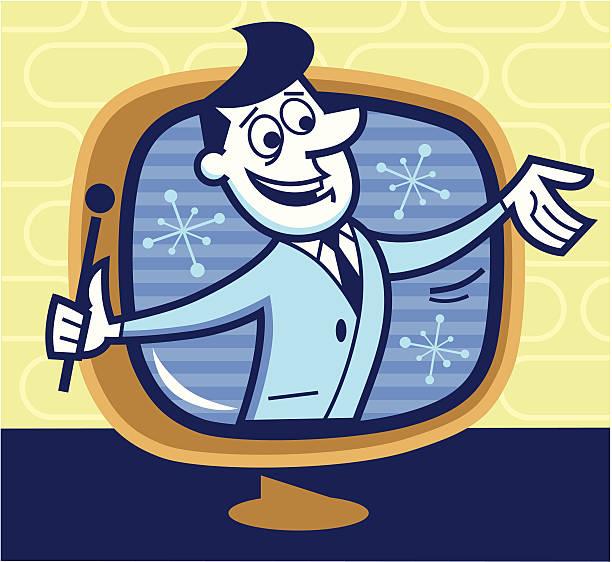 illustrazioni stock, clip art, cartoni animati e icone di tendenza di presentatore televisivo - organizzatore della festa