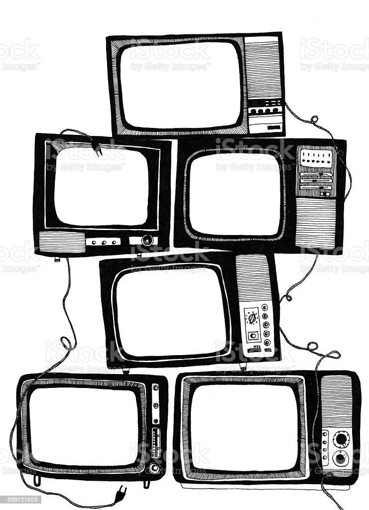 Television vector art illustration