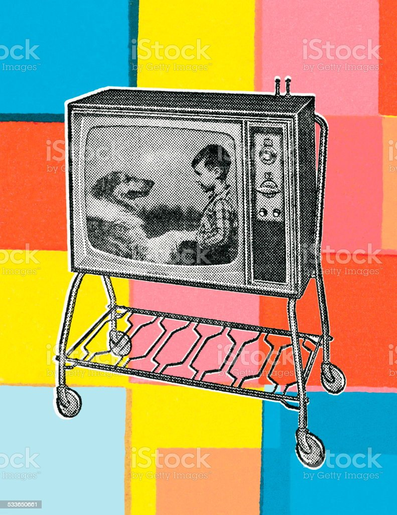 Television Set vector art illustration