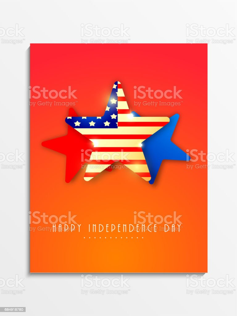 template banner or flyer design decorated with american flag color stars for 4th of july