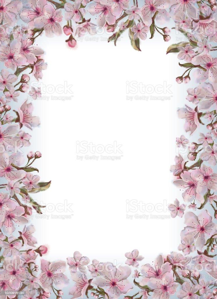 Ilustracion De Plantilla Decorada Con Flores De Color Rosa Todo