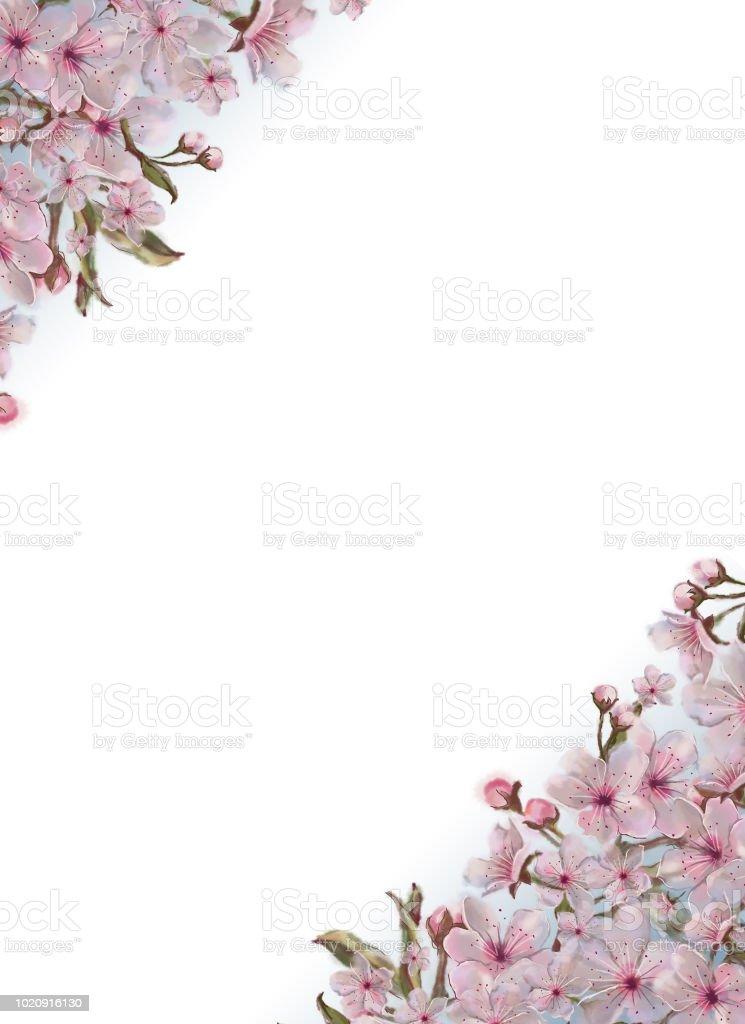 Ilustracion De Plantilla Decorada Con Flores Rosas En Las Esquinas