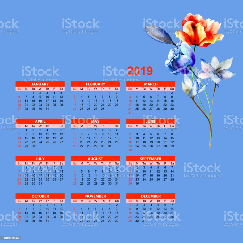 Template For Calendar 2019 With Beautiful Flowers Stock Vector Art
