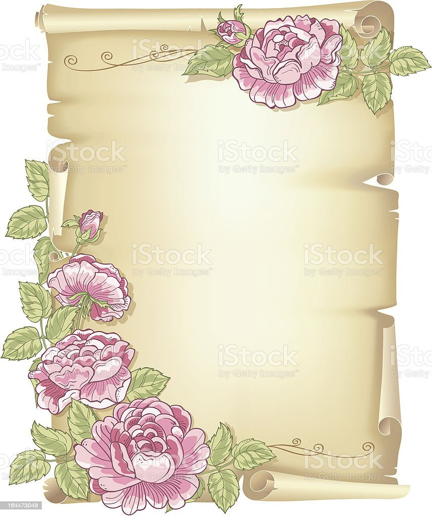 Template greeting card – parchment with roses and leaves royalty-free stock vector art