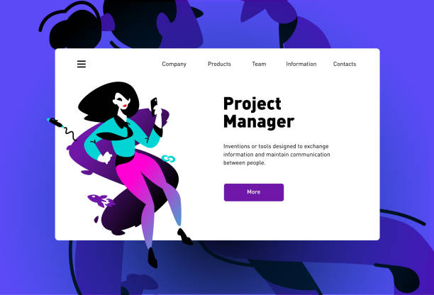 Template illustration of a web page for the landing. Modern ideas, the development of mobile applications, sites. Project manager. SEO. Business modern style design layout. vector art illustration