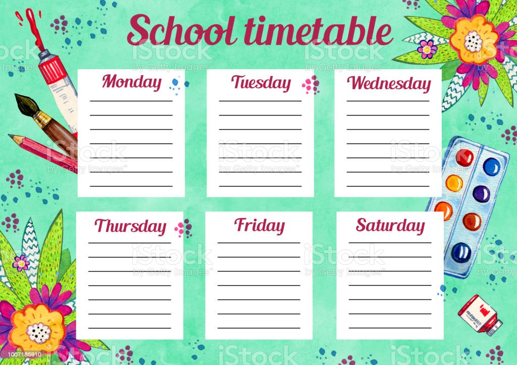 template of school timetable with days of week and free spaces for