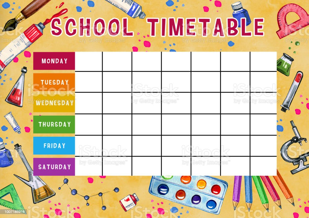 template of school timetable with days of week and free spaces for notes hand drawn