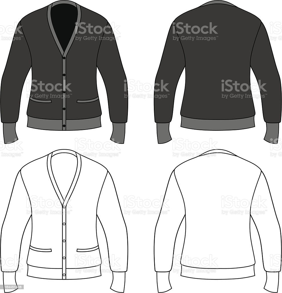 Template outline illustration of a blank cardigan royalty-free stock vector art