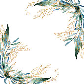 istock Template postcard with watercolor and golden branches, hand drawn illustration on white background, for invitation, card decoration, wedding design, greeting card 1266853863