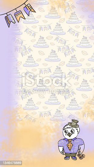 istock Template stories Backgrounds for Wedding celebration in line art style on Yellow purple Background with cakes, flags and lips. doodle drawn with felt pen. Owl man in clothes, hat and with a bouquet of flower roses of illustrations for congratulations on t 1346475889