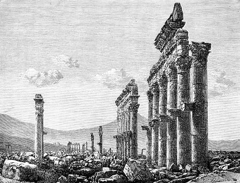 Temple colonnade ruins in Palmyra