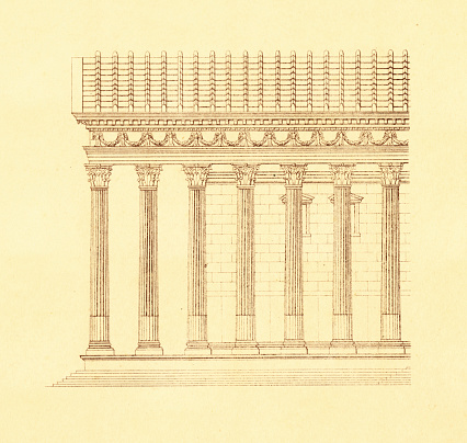 Temple in Palmyra, Syria | Antique Architectural Illustrations