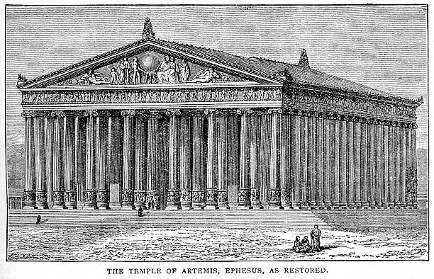 Temple of Artemis, Ephesus Vintage engraving showing the Temple of Artemis at Ephesus.  Ephesus was an ancient Greek city, and later a major Roman city, on the west coast of Asia Minor, near present-day Selcuk, Izmir Province, Turkey. ephesus stock illustrations