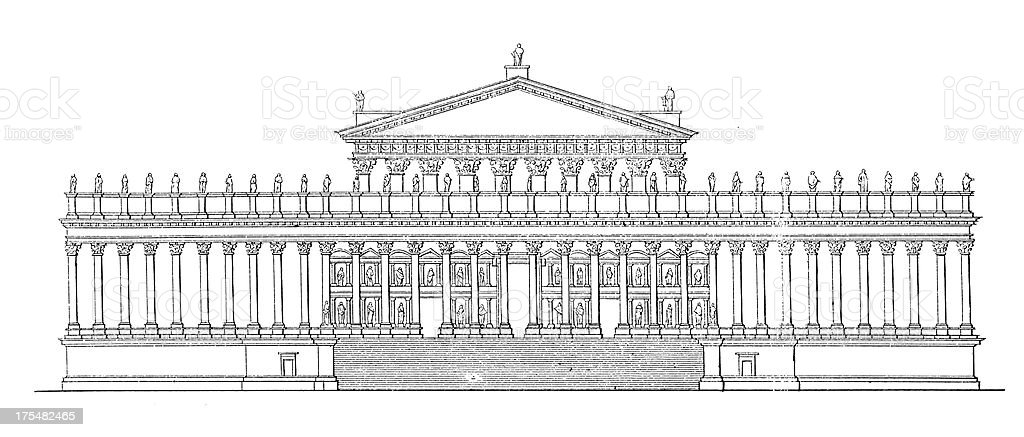 Temple of Bacchus, Baalbek, Lebanon | Antique Architectural Illustrations royalty-free stock vector art