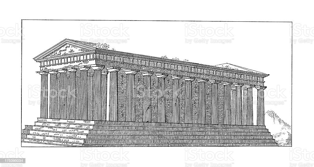 Temple of Hephaestus, Athens, Greece | Antique Architectural Illustrations royalty-free stock vector art