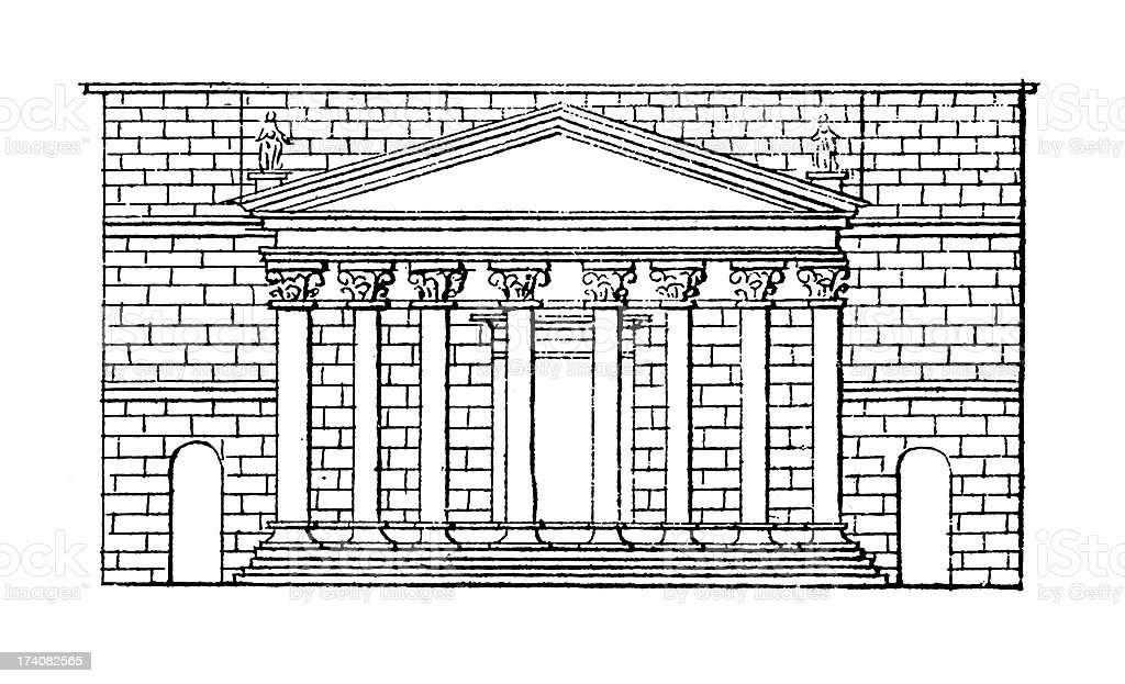 Temple of Mars Ultor, Rome, Italy | Antique Architectural Illustrations royalty-free stock vector art