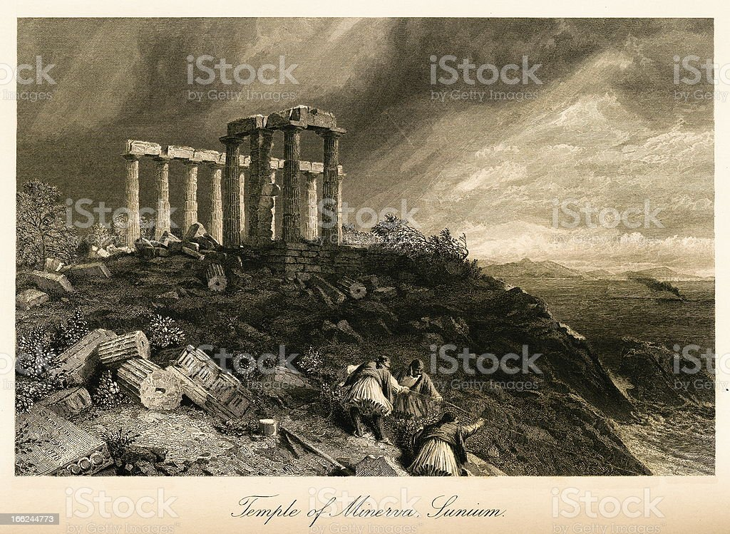 Temple of Minerva, Cape Sounion, Greece(antique steel engraving) royalty-free stock vector art