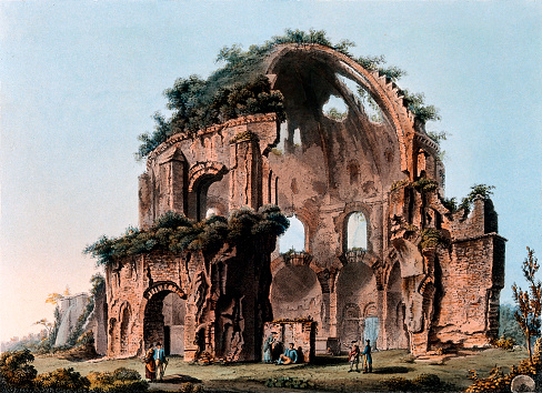 Vintage illustration features the Temple of Minerva Medica, a grotto or shrine devoted to nymphs (nymphaeum) and often connected to the water supply, that dates to the 4th century.