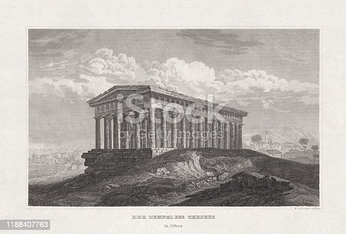 Historical view of the Temple of Theseus (Hephaestus) in Athens, Greece. Steel engraving,