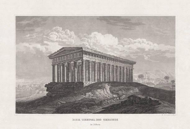 stockillustraties, clipart, cartoons en iconen met tempel van theseus (hephaestus), athene, griekenland, staal gravure, gepubliceerd 1857 - athens
