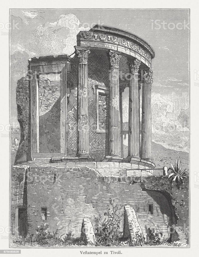 1884 年に公開されたティボリ イタリア 木の彫刻ウェスタ神殿 ...