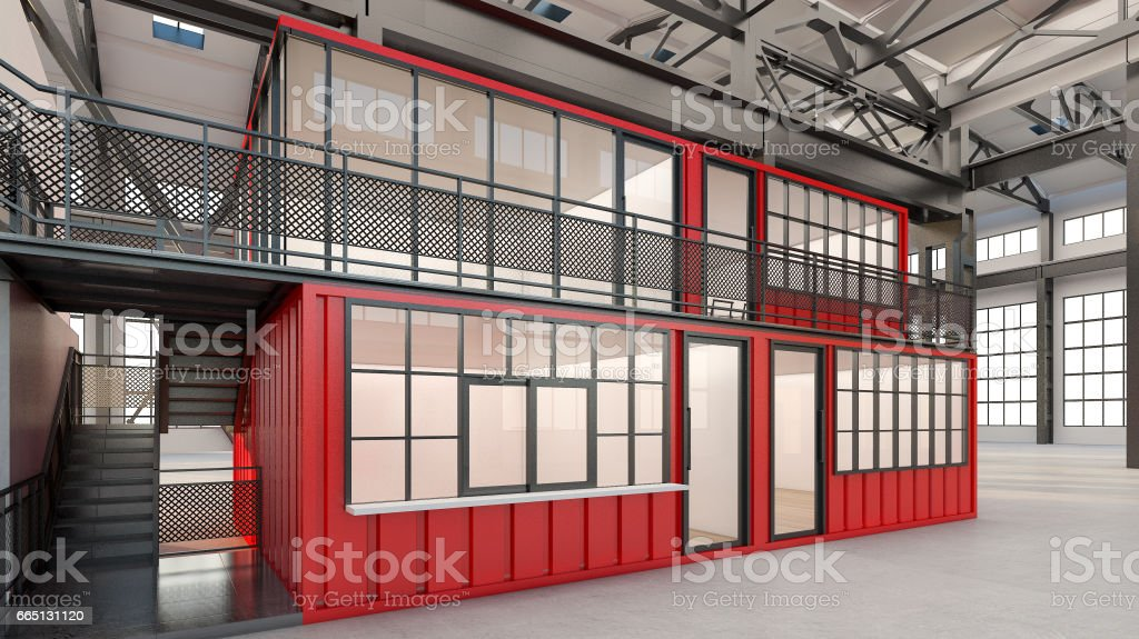 Temporary offices built from shipping containers , 3d rendering vector art illustration