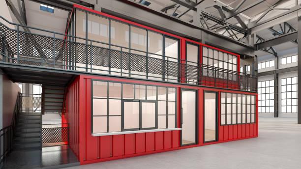 illustrations, cliparts, dessins animés et icônes de bureaux temporaires, construits à partir de conteneurs d'expédition, rendu 3d - architecture intérieure beton