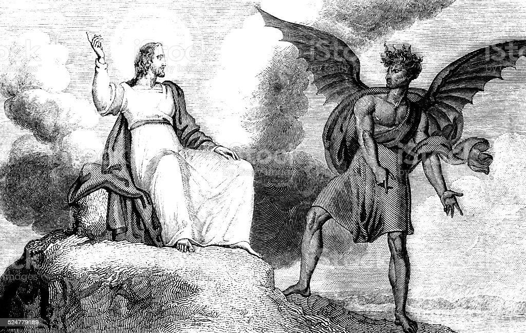 Temptation Of Jesus Christ vector art illustration