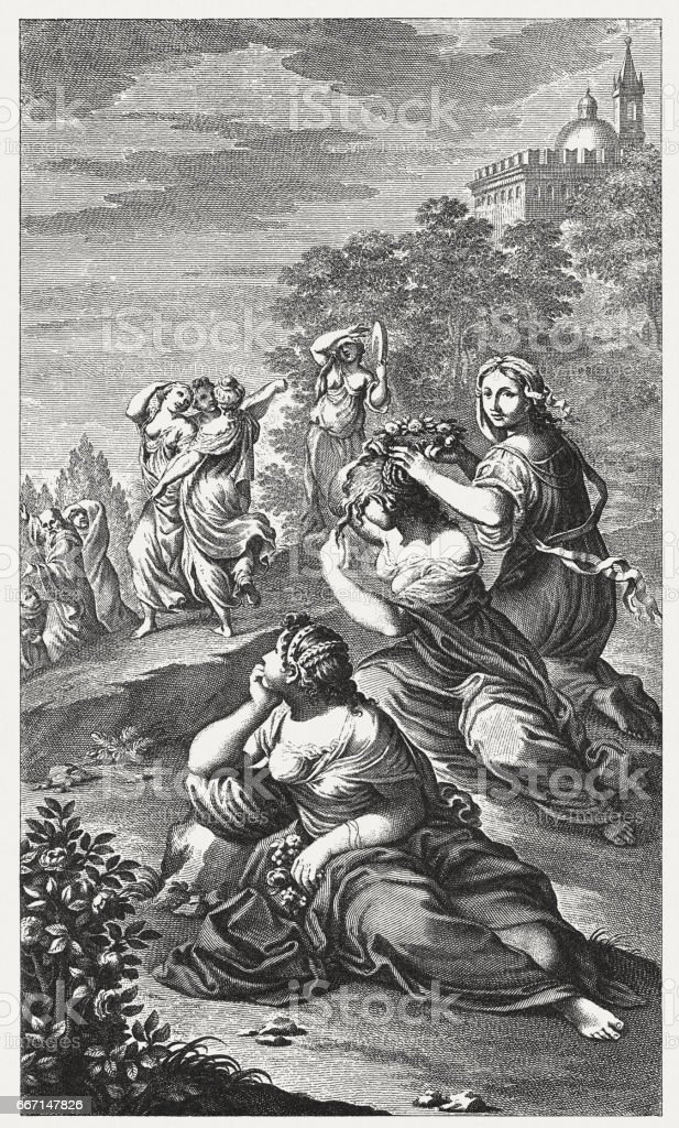 Temptation of St Benedict, painted by Lodovico Carracci, Bologna, Italy vector art illustration