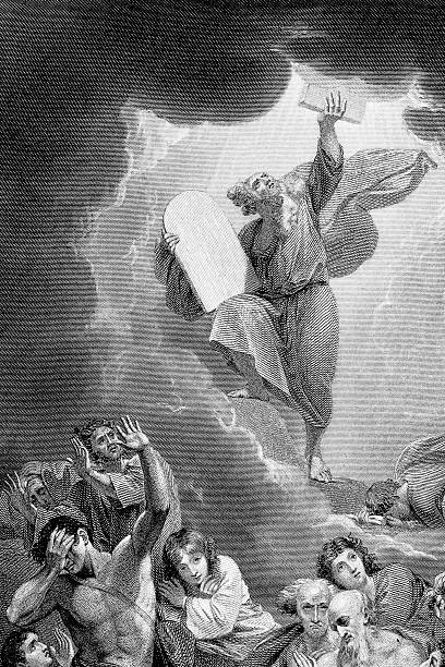 Ten Commandments Moses receiving the lawby B. West RA moses religious figure stock illustrations
