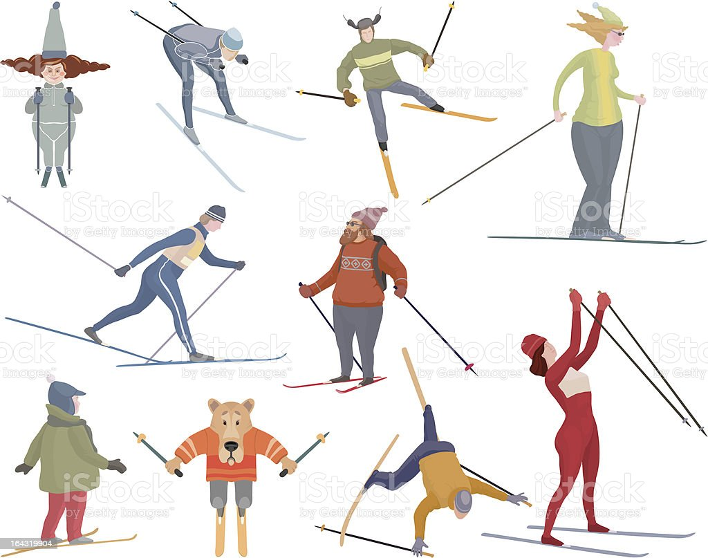 Ten various figures of people who go to ski vector art illustration