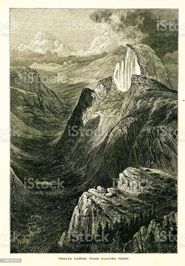 Tenaya Canyon, viewed from Glacier Point, California royalty-free stock vector art