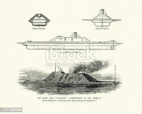 istock CSS Tennessee (1863), Confederate Navy casemate ironclad ram warship 1211553368