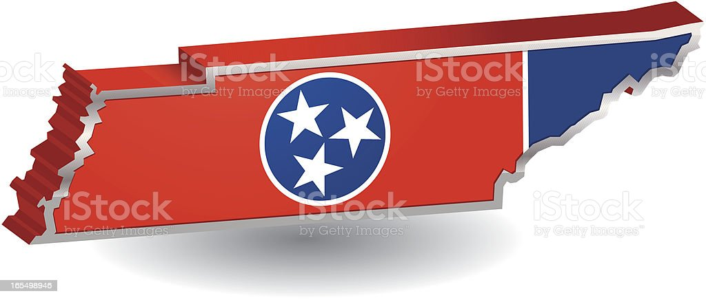 Tennessee Flag Map vector art illustration