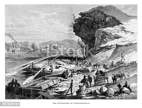 Very Rare, Beautifully Illustrated Antique Engraving of Tennessee River at Chatanooga, Tennessee, United States, American Victorian Engraving, 1872. Source: Original edition from my own archives. Copyright has expired on this artwork. Digitally restored.