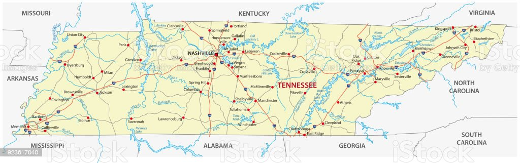 Tennessee Road Map Stock Vector Art More Images of Arkansas
