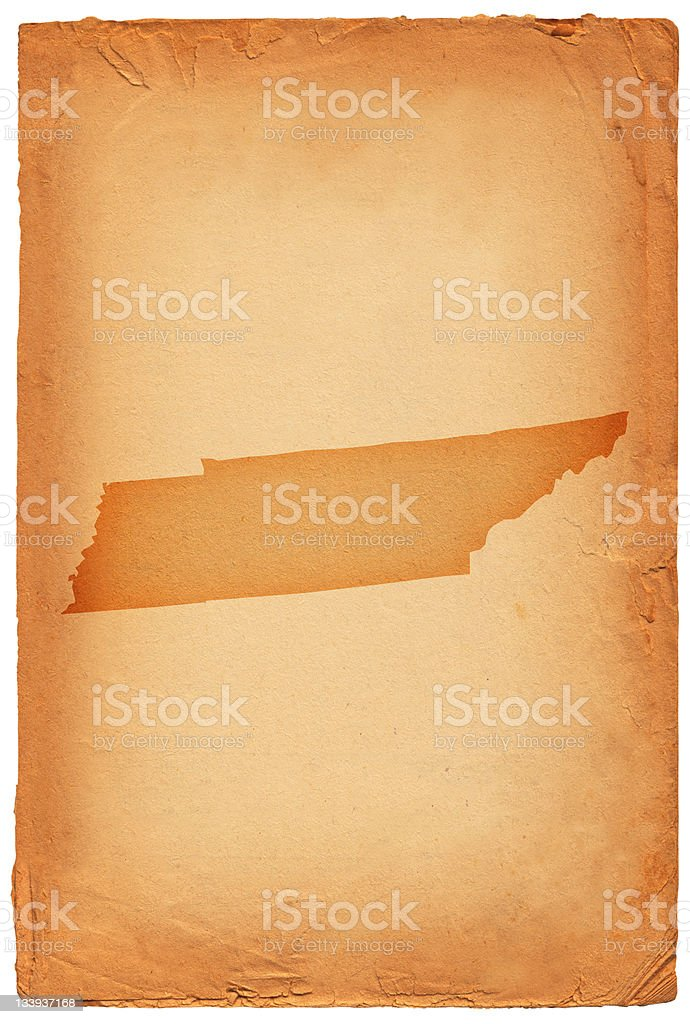 Tennessee state map on old paper Background vector art illustration