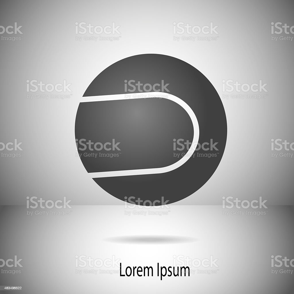 Tennis ball motif on divided background in greyscale vector art illustration
