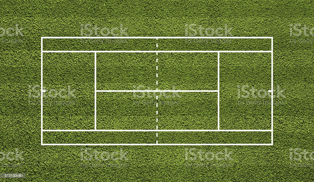 Tennis court. Top view field. Green grass vector art illustration