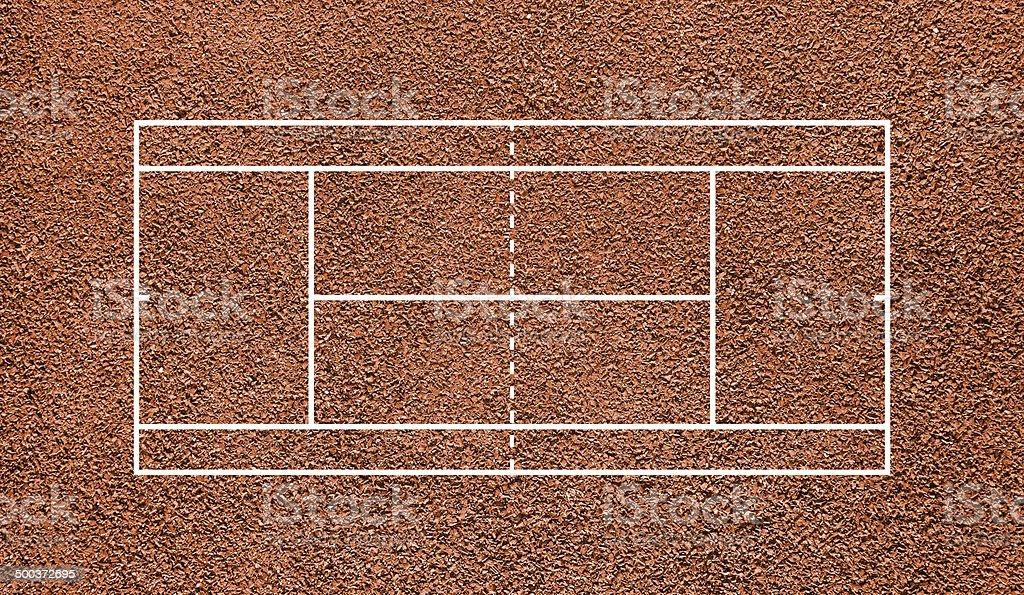 Tennis court. Top view field. Orange clay. vector art illustration