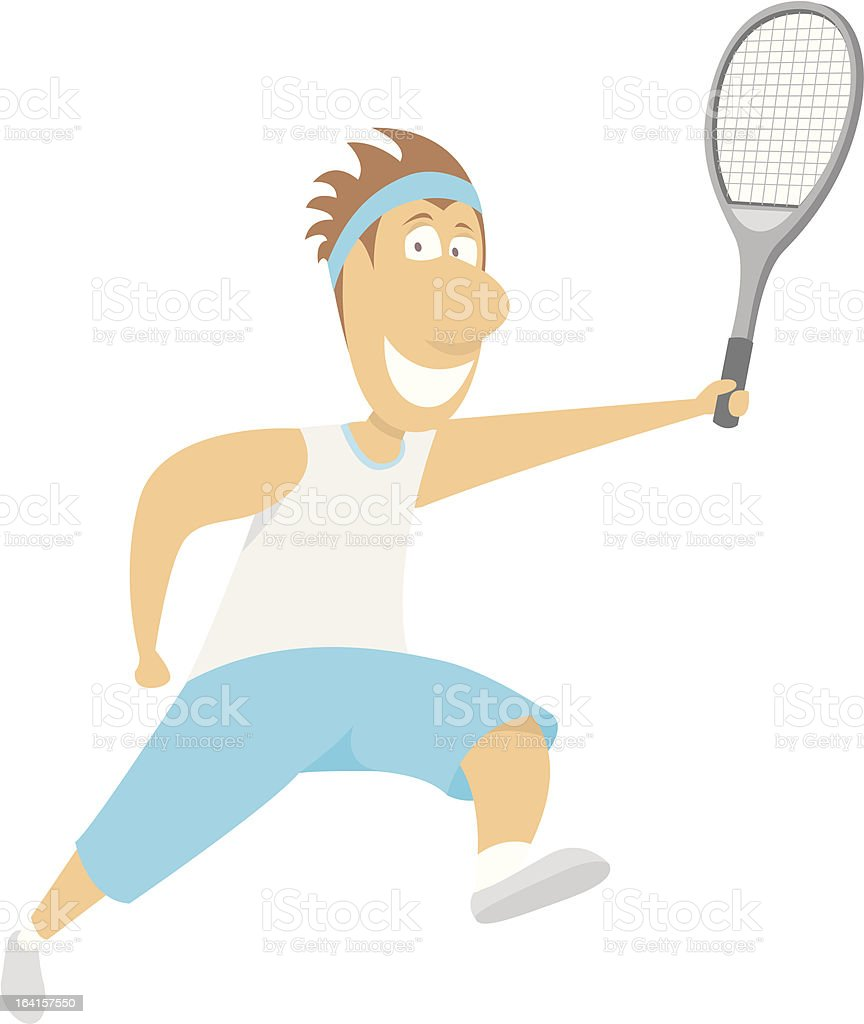 Tennis Player running royalty-free stock vector art