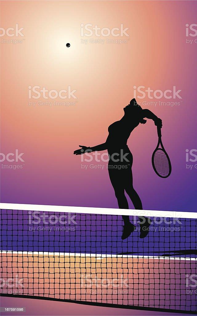 Tennis Player Serving - Female vector art illustration