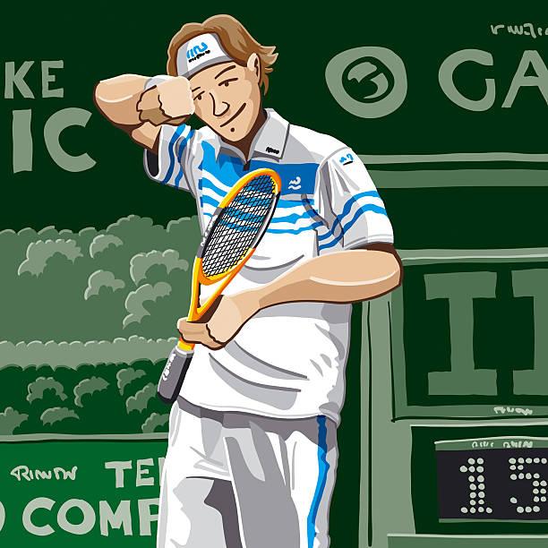 Tennis Player Sweat  tennis stock illustrations