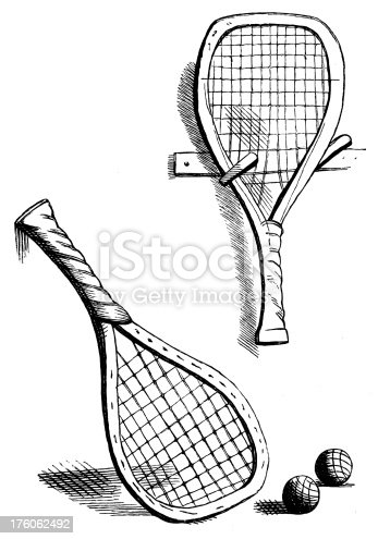 Antique engraving of tennis rackets (isolated on white). Published in 1844.CLICK ON THE LINKS BELOW TO SEE SIMILAR IMAGES: