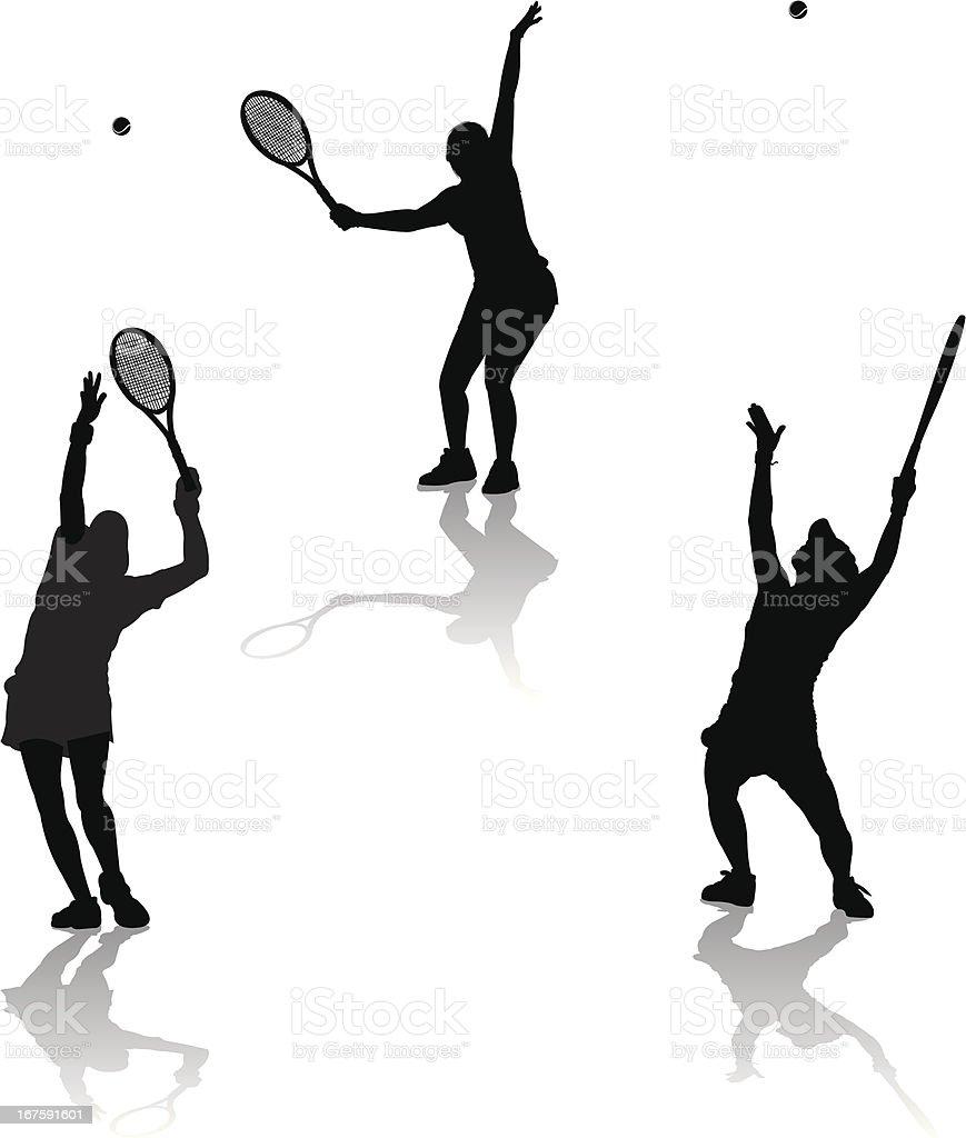 Tennis Serve - Female vector art illustration