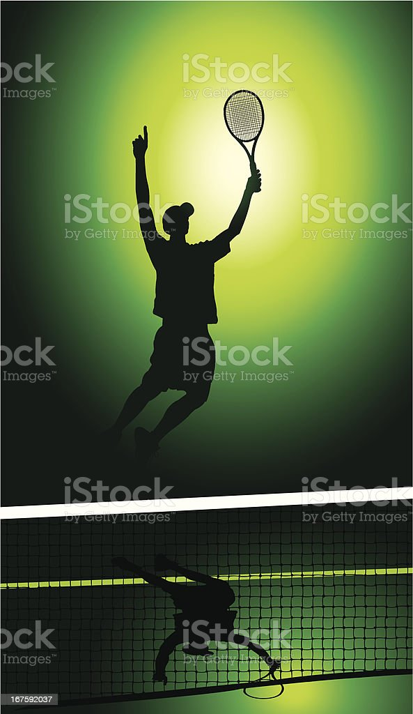 Tennis Victory - Men vector art illustration