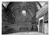 Illustration of a Tepidarium of the thermal baths excavated in 1824 to Pompeii.