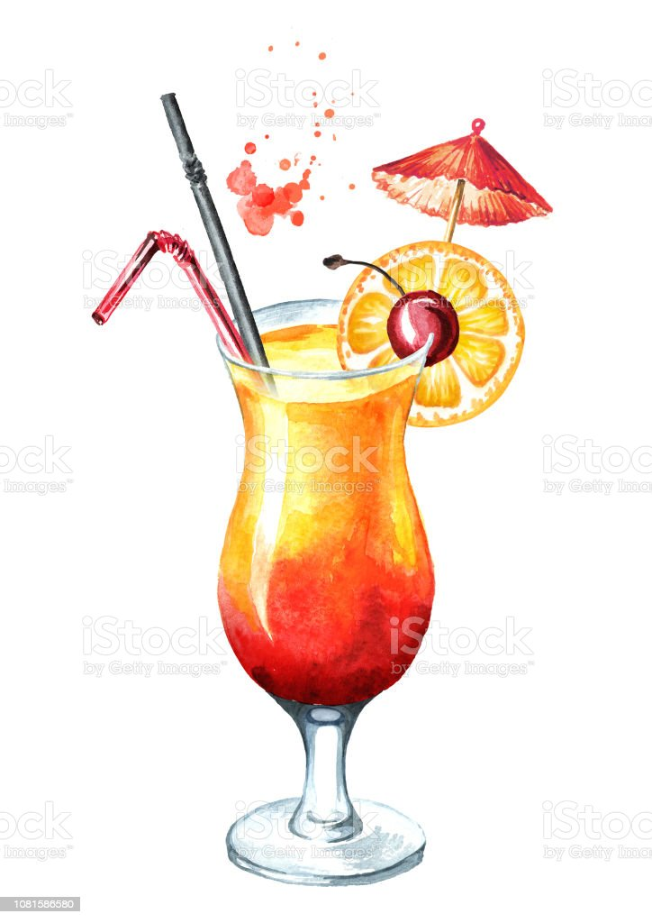 Tequila Sunrise Cocktail With Cherry And Orange Decoration