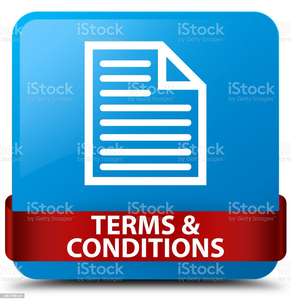Terms and conditions (page icon) cyan blue square button red ribbon in middle vector art illustration